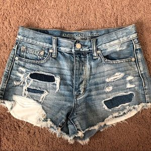 American Eagle Mid Rise Medium Wash Jean Shorts